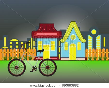 Suburban Houses Front View Building and bicycle with wooden fence and night city silhouette. Vector cartoon illustration.