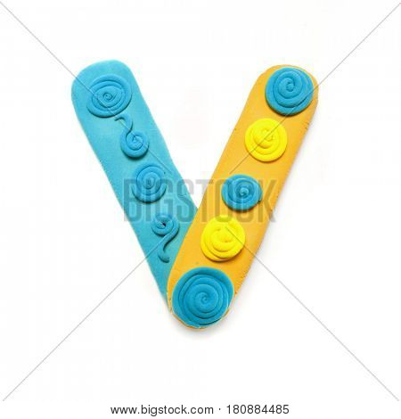 Plasticine letter V. Color plasticine alphabet, isolated.