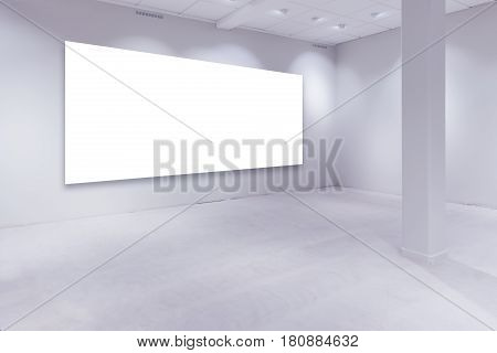 Spot lights and empty white copy space on art gallery wall for painting or photograph