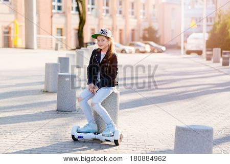 10 Years Old Girl Riding On Self Balancing Electric Skateboard