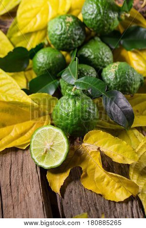 fresh bergamot and Yellow leaves on old wooden tables background.