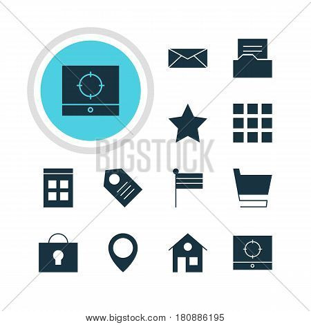 Vector Illustration Of 12 Web Icons. Editable Pack Of Map Marker, Bookmark, Date Time And Other Elements.