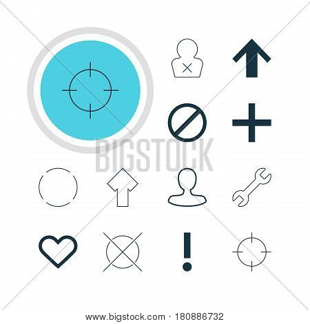 Vector Illustration Of 12 Interface Icons. Editable Pack Of Upward, Man Member, Alert And Other Elements.