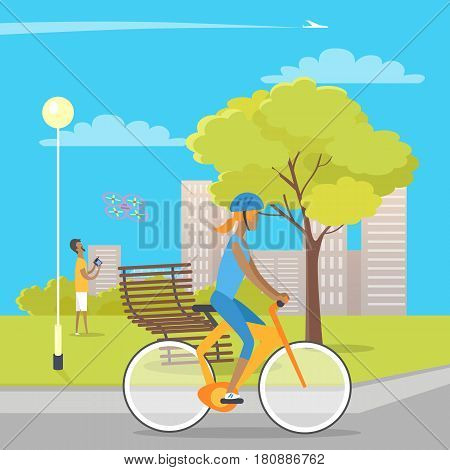 Young girl in helmet riding bicycle on grey path and male person on green gras playing with flying quadrocopter. Vector illustration of people spending time in park with street lamp, wooden bench
