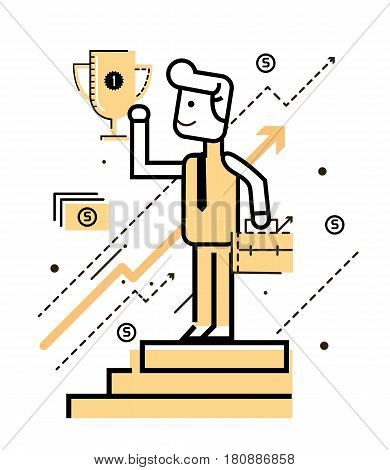 Businessman on the stand and holding winning trophy. Victory concept. flat thin line design elements. vector illustration