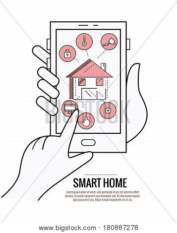 smart home technology system with centralized control of lighting heating ventilation and air conditioning security and video surveillance. thin line flat design. vector illustration