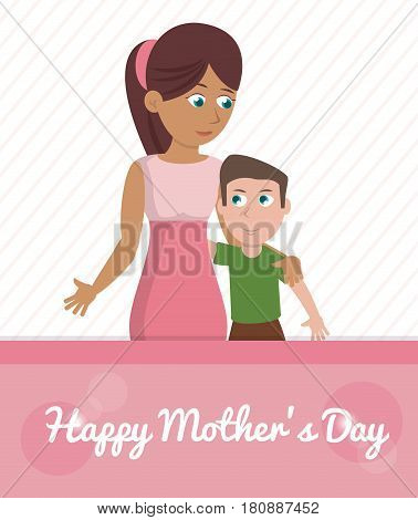 happy mothers day card - woman embrace son vector illustration eps 10
