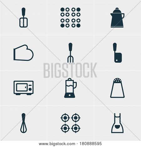 Vector Illustration Of 12 Cooking Icons. Editable Pack Of Furnace, Pepper Container, Smock And Other Elements.