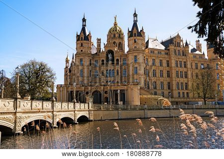 Schwerin Palace or Schwerin Castle palatial schloss on an island in the lake romantic historicism architecture Mecklenburg-Vorpommern northern Germany Europe