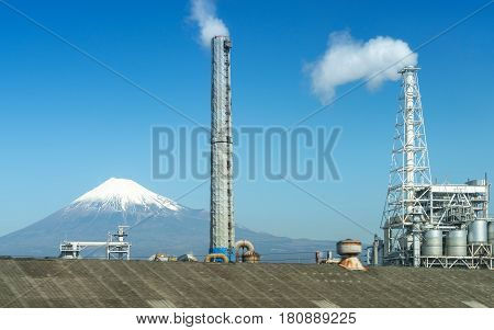 View Of Industrial District With Mt Fuji In Background, Japan