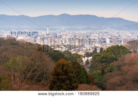 Kyoto city skyline with Kyoto tower, Japan
