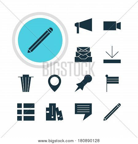 Vector Illustration Of 12 Online Icons. Editable Pack Of Map Marker, Thumbtack, Bullhorn And Other Elements.