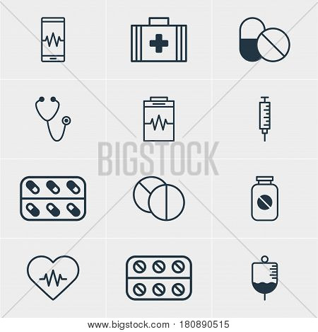 Vector Illustration Of 12 Medical Icons. Editable Pack Of Pills, Treatment, Antibody And Other Elements.