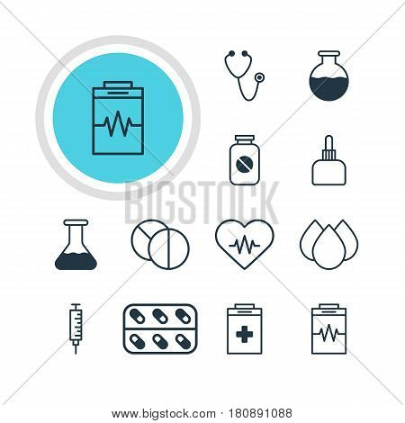 Vector Illustration Of 12 Health Icons. Editable Pack Of Vial, Medicine, Trickle And Other Elements.