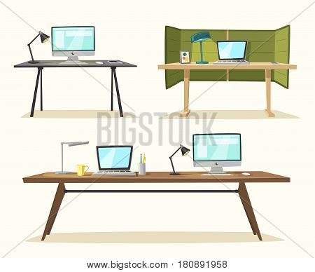 Set of office tables. Cartoon vector illustration. Design furniture. comfortable workstations. Modern workplaces. For web and banners.
