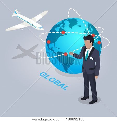Global electronic commerce and businessman flat design on gray background. Shipping by air to all countries of planet. Man in business suit showing scale companies. Vector illustration web banner.