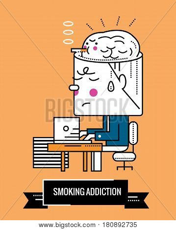 Smoking Addiction. Nicotine a mental illness. Character thin line flat design. vector illustration