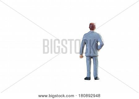 Close Up Of Miniature Businessman People Isolated With Clipping Path On White Background.elegant Des