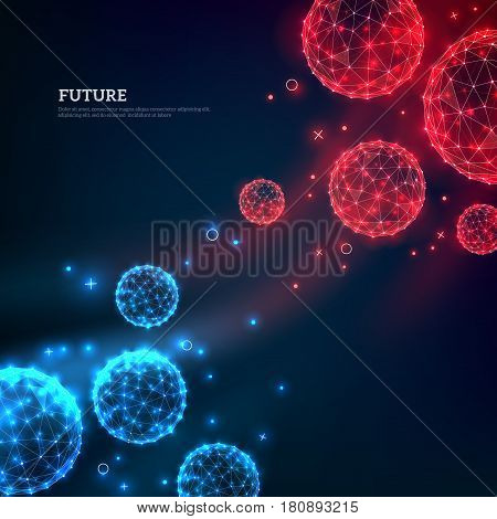 Red and blue particles flowing towards on dark background. Vector illustration. Abstract molecules impact. Connection Structure. Geometric Modern Technology Concept. poster