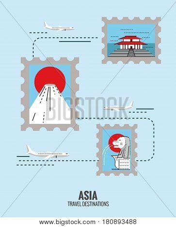 stamps of Asia destination scene. japan Singapore china. travel concept. thin line flat design. vector illustration
