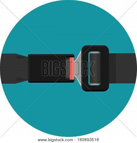 Safety black belt isolated on background. Security seat protective belt with buckle vector illustration. Modern prevention accident accessory seatbelt. Fashionable waistband in realistic design