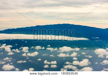 Clouds floating in the atmosphere, aerial view over Hawaiian  Islands