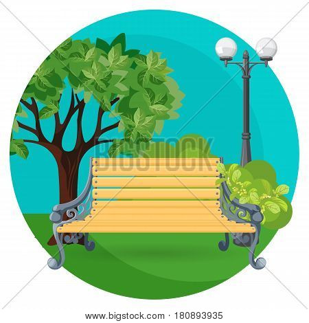 Wooden bench in the park with green bushes, trees and street lamp in round web button isolated on white background. Summer scenery, place for rest vector illustration