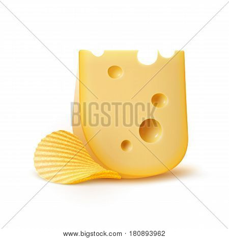 Vector Potato Ripple Crispy Chips with Cheese Close up Isolated on White Background