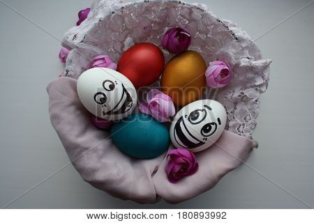Eggs With A Cute Face. Photo