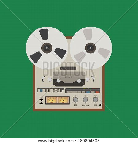 Bobbin tape recorder on the green background. Vector illustration