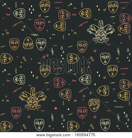 Carnival, theater masks seamless pattern on dark background. Vector illustration with comedy and tragedy line mask icons.