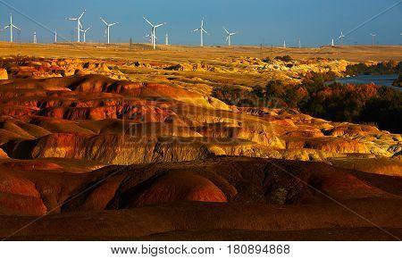Windmill power generators on Xinjiang China .
