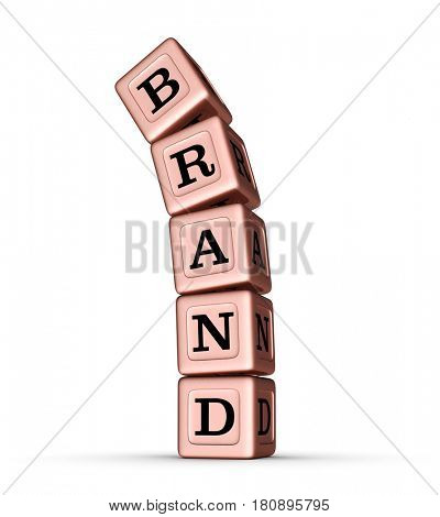 Brand Word Sign. Falling Stack of Rose Gold Metallic Toy Blocks. 3D illustration isolated on white background.