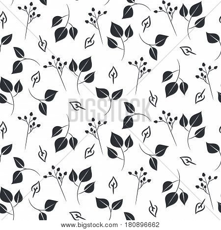 Leaves and dogrose seamless vector pattern on white background. Nature leaf background.