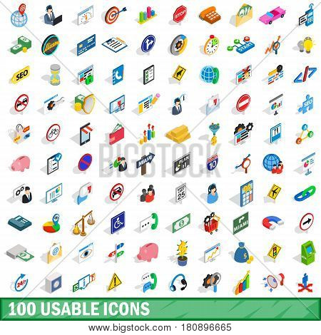100 usable icons set in isometric 3d style for any design vector illustration
