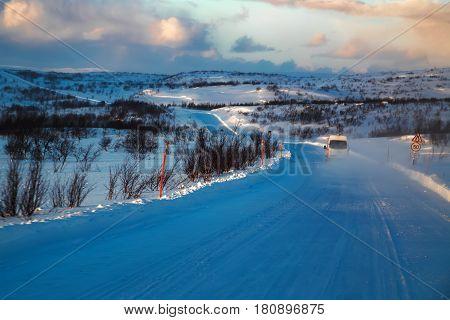 Road At Winter Tundra. Kola Peninsula, Russia