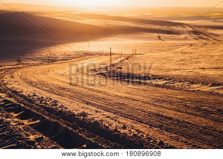 Golden Sunset At Winter Tundra's Road, Kola Peninsula, Russia