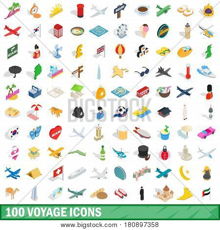 100 voyage icons set in isometric 3d style for any design vector illustration
