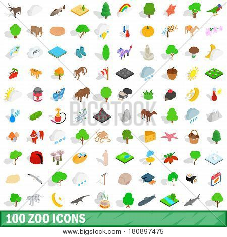 100 zoo icons set in isometric 3d style for any design vector illustration
