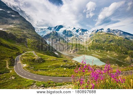 Winding Mountain Pass Road In The Alps