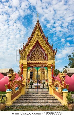 Buddhist Temple Entrance With Colorful Decoration