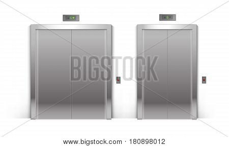 Vector Set of Realistic Closed Chrome Metal Office Building Elevator Doors Isolated on Background