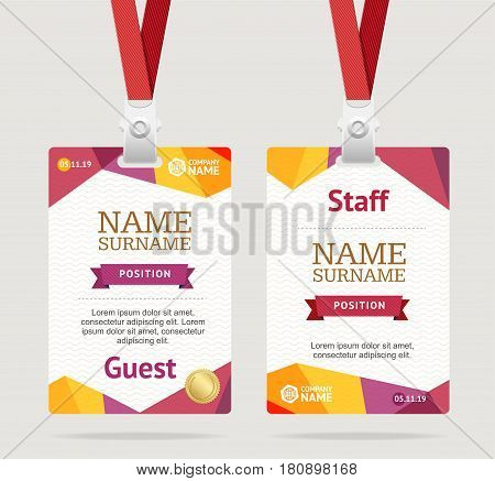 Id Card Template Plastic Badge Vertical Set with Abstract Color Origami Design. Vector illustration