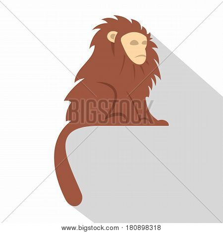 Monkey with long brown hair icon. Flat illustration of monkey with long brown hair i vector icon for web