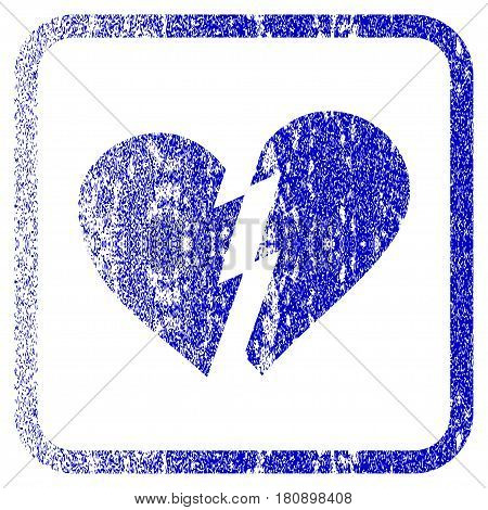 Broken Heart textured icon for overlay watermark stamps. Blue vectorized texture. Flat vector symbol with dust design inside rounded square frame. Framed blue rubber seal stamp imitation.