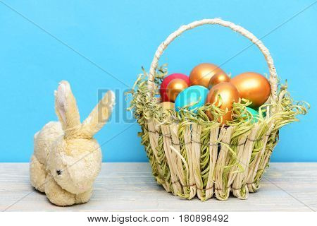 Rabbit, Hare Toy, Spring Easter Holiday, Colorful Eggs In Basket