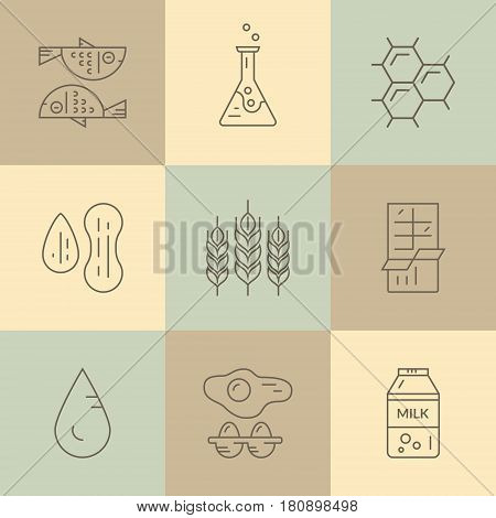 Food allergen icons. Vector line series. Food intolerance symbols for restaurants, farm markets and menu. Special diet illustration.