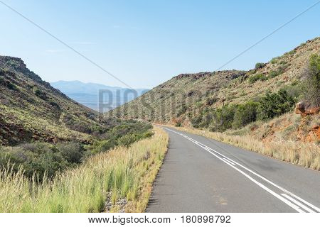 The view from the Rubidge Kloof Pass on the scenic Owl Route near Nieu-Betesda an historic village in the Eastern Cape Province