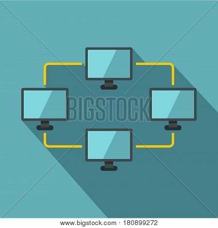 Exchange of data between computers icon. Flat illustration of exchange of data between computers vector icon for web