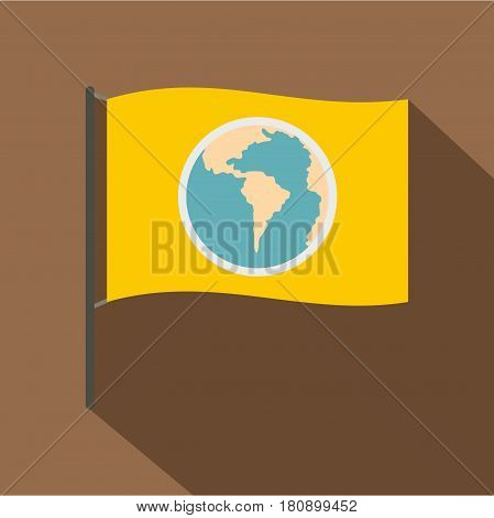 Yellow flag with the image of the globe icon. Flat illustration of yellow flag with the image of the globe vector icon for web